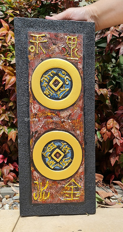 Double Feng Shui Coin Canvas Wall Hanging (A)