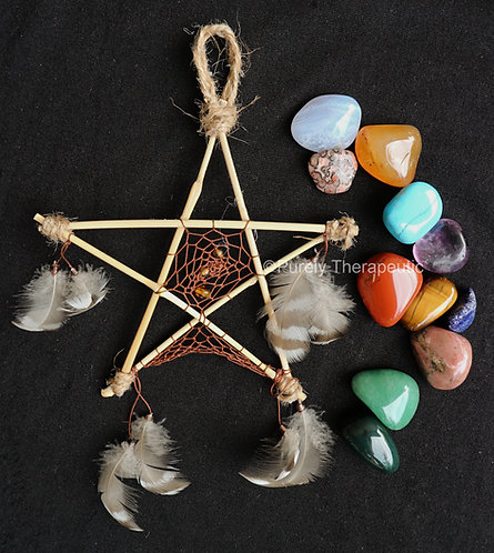 Pentagram_Dream_Catcher_Brown_Handmade
