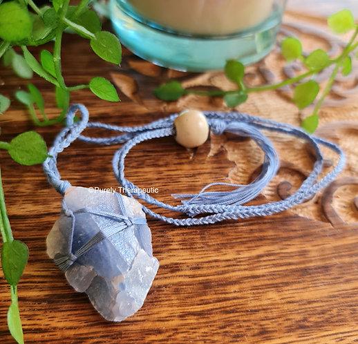 Blue Calcite Macrame Necklace