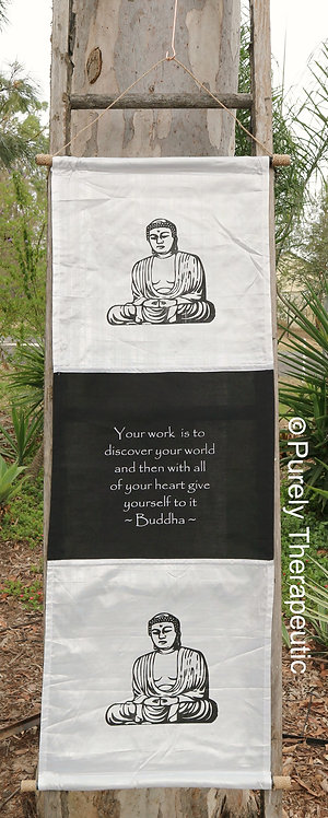 White Buddha Wall Scroll Flag Inspirational Quote