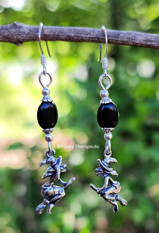 Black Onyx Witch Earrings
