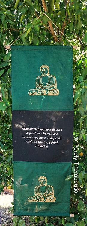 Green Wall Scroll Flag Hanging Buddha