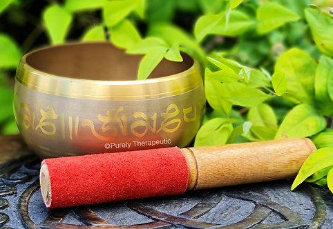 Gold Brass Tibetan Singing Bowl with Dorge Mallet