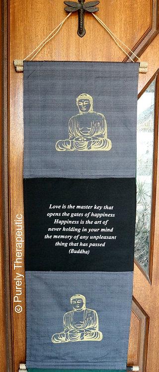 Grey Love Quote Buddha Wall Hanging