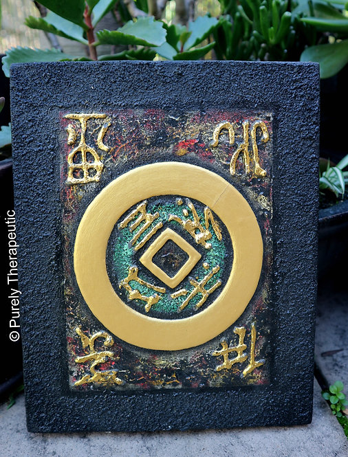 Feng Shui Coin Painted Canvas