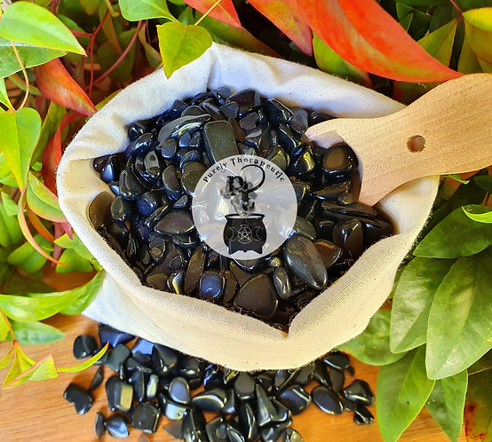 black obsidian gemstone crystal chips