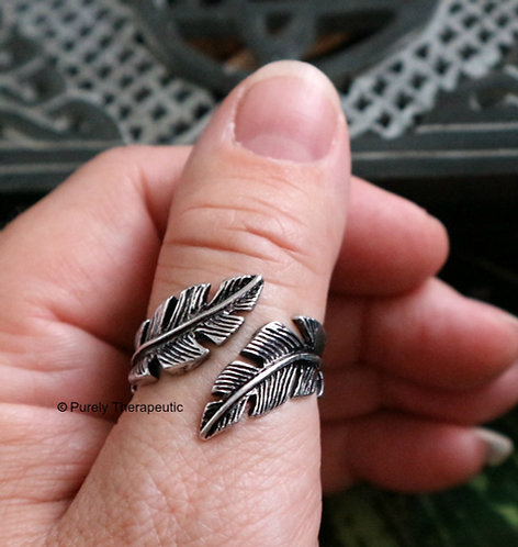 Double Feather Adjustable Ring