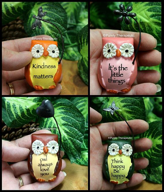 Positive Owl figurines ornament set of 4