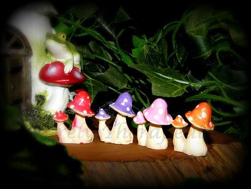Set of 4 Miniature Fairy Garden Mushrooms