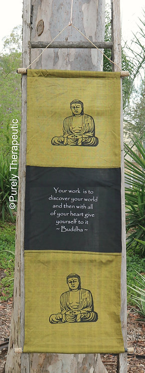 Olive Green Buddha Wall Hanging Flag Scroll