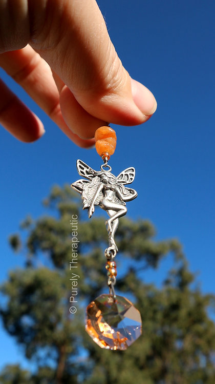 Carnelian Gemstone Crystal Handmade Fairy Sun Catcher