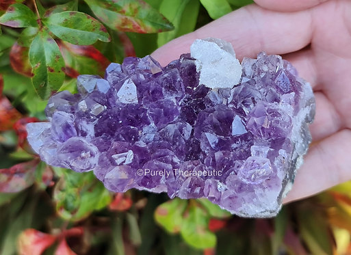Amethyst cluster with clear quartz