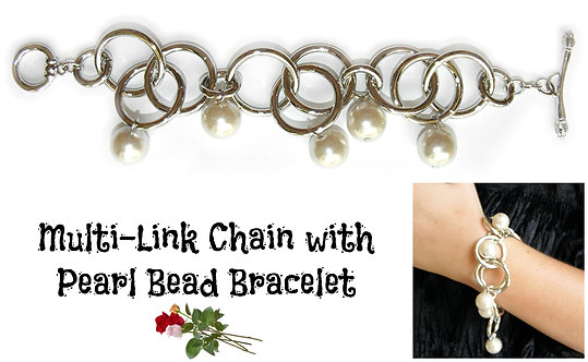 Multi Link Chain with Pearl Bead Bracelet