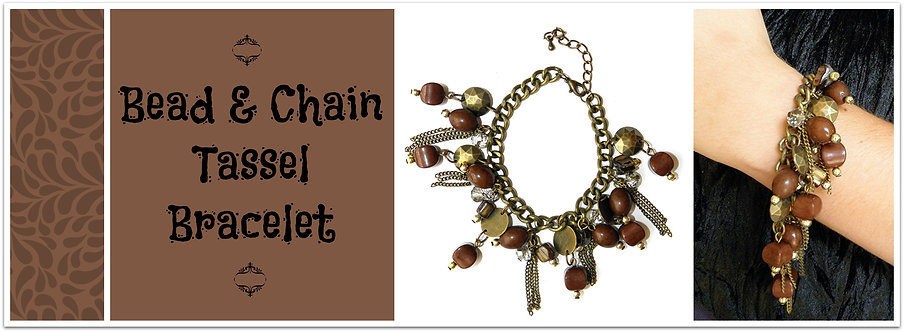 Bead and Chain Tassel Bracelet Brown