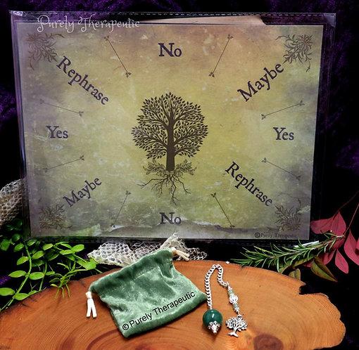 Purely Therapeutic Tree of Life Pendulum and Pendulum Board Mat Set