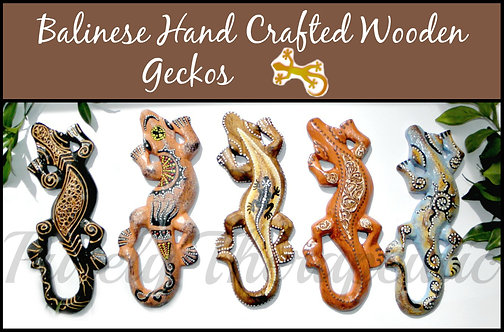 Wooden Hand Carved Balinese Painted Gecko Geckos