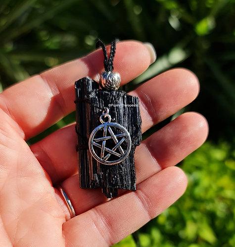 Protection Black Tourmaline Macrame Necklace
