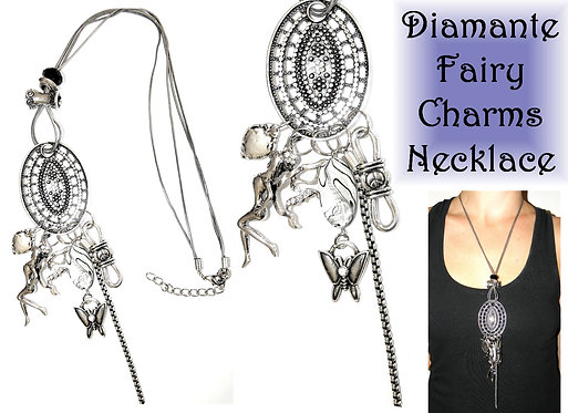 Diamante Fairy with Charms Necklace