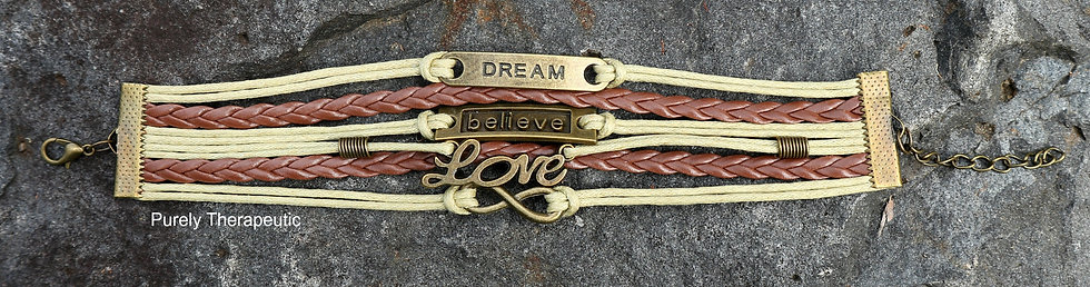 Dream Believe Love Infinity Brown & Cream Wristband Bracelet