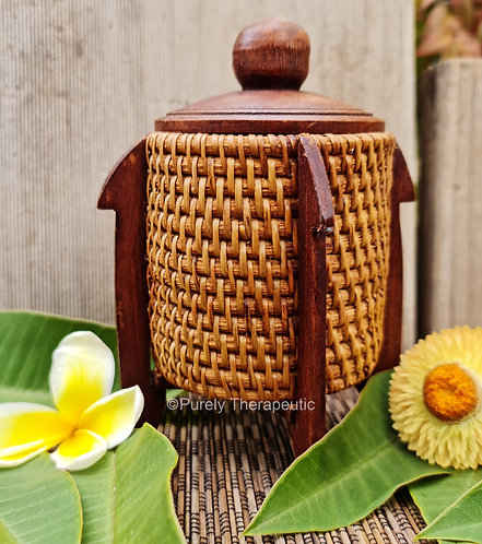 Woven Rattan and Wood Balinese Trinket Jar