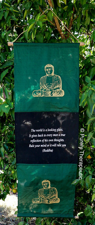 Buddha Inspirational Quote Wall Scroll Flag Green