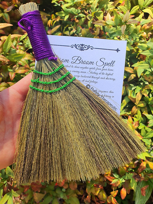 Smudging Cleansing Heather Besom Altar Broom~Purple