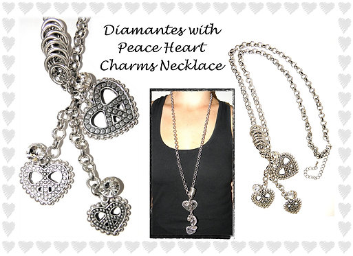 Diamantes with Heart Charms Necklace
