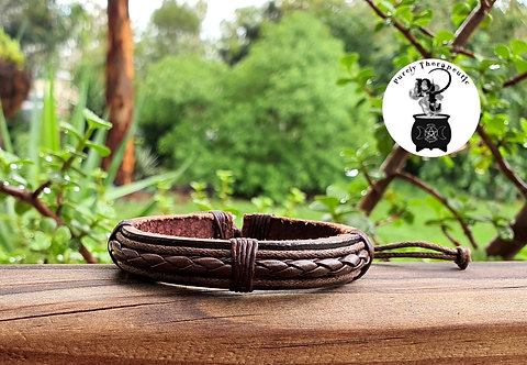Brown leather adjustable braided wristband