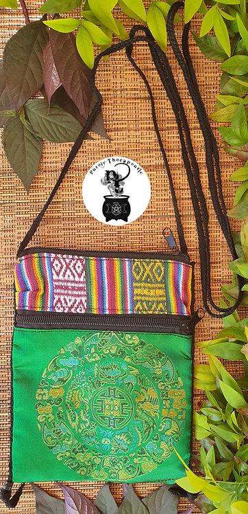 Green Chakra Mandala Zip Bag