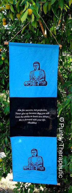 Blue Buddha Wall Flag Aim for Success