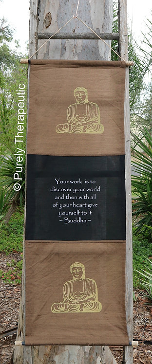 Flag Wall Scroll Inspirational Quote Buddha Light Brown