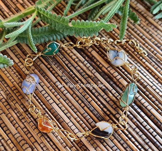 Gold Wire Wrapped Gemstone Crystal Bracelet