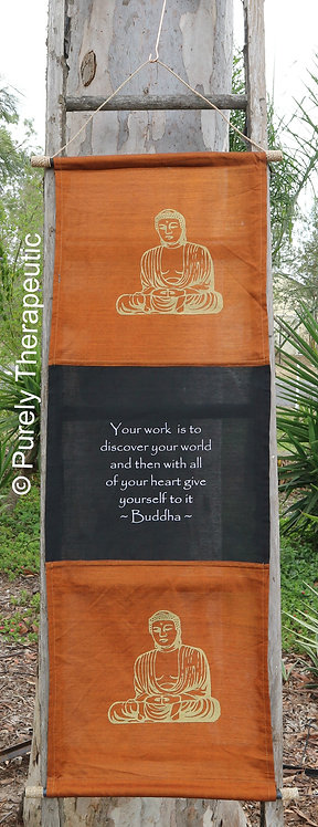 Orange Wall Scroll Flag Inspirational Quote Buddha