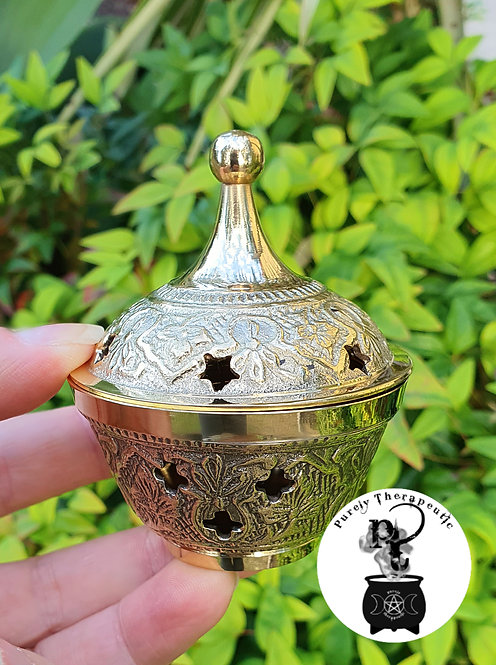Gold Brass Incense Resin Cone Charcoal Burner