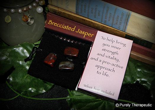Brecciated Jasper Crystal Gift Pack~Velvet Pouch
