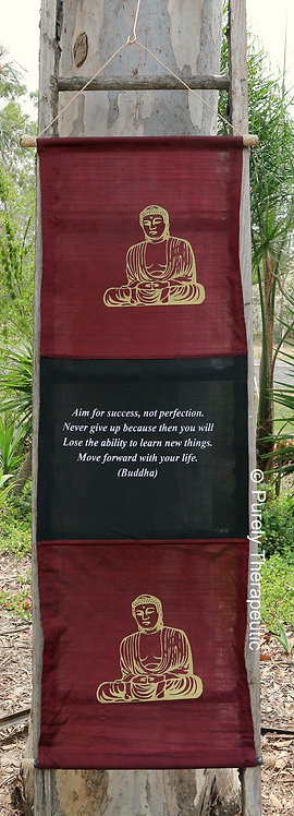 Inspirational Wall Scroll Flag Buddha Burgundy