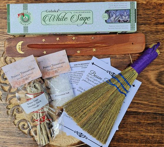 Besom Broom Incense and holder white sage smudge stick