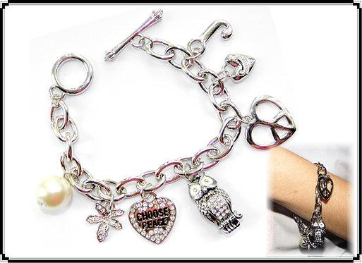 Elegant Owl & Hearts Charm Bracelet