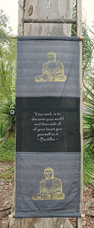 Gray Buddha Wall Hanging Scroll Flag