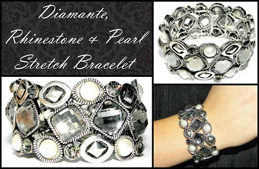 Diamante Rhinestone Pearl Bracelet