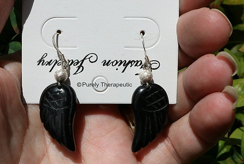Black Tourmaline Gemstone Wing Earrings