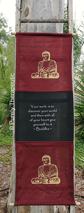 Buddha Inspirational Quote Flag Wall Scroll Burgundy