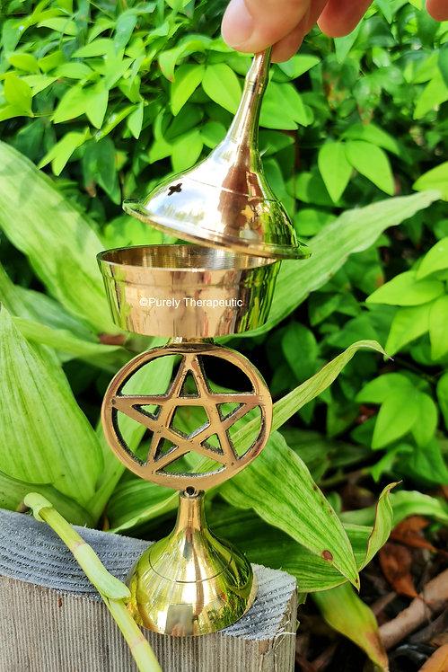 incense cone resin charcoal brass pentagram pentacle burner