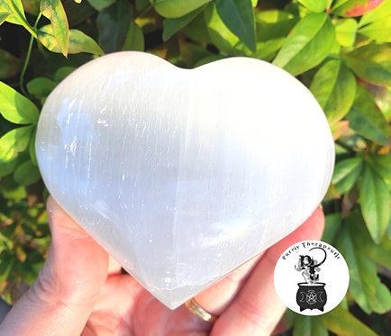 Selenite Gemstone Polished Heart