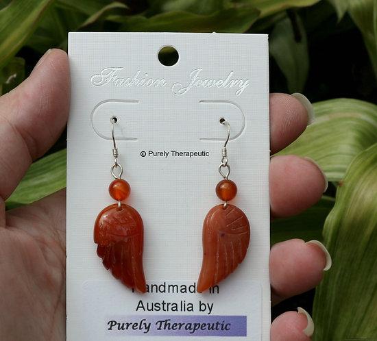 Carnelian Gemstone Angel Wing Earrings
