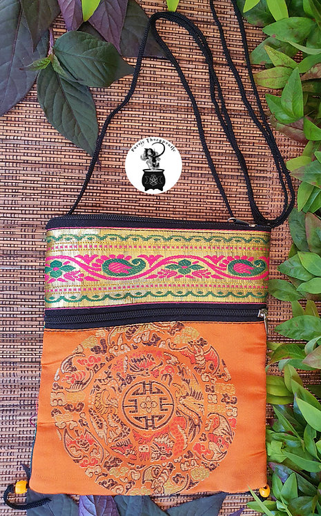 Mandala Orange Pink Hippy Shoulder Bag