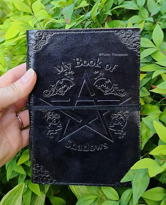 Pentagram 'My Book of Shadows' Leather Journal-Black