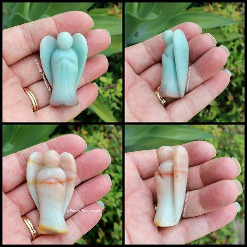 Gemstone Crystal Amazonite Angel Figurine
