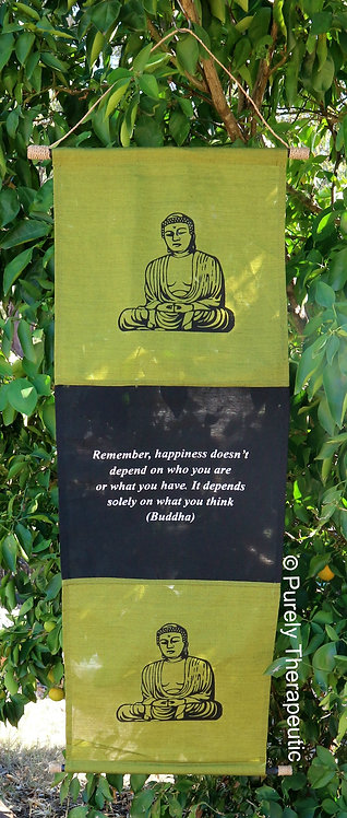 Buddha Inspirational Quote Wall Scroll Flag Grass Green