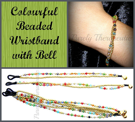 Colourful Beaded Wristband with Bell
